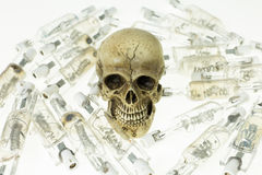Skull and use lamp Royalty Free Stock Image
