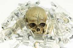 Skull and use lamp Royalty Free Stock Photo