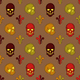 Skull vector, background lily flower, pattern Royalty Free Stock Photos