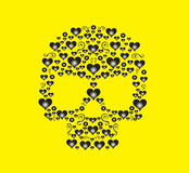 Skull vector hearts icon Stock Image