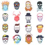 Skull vector mexican dead head and crossbones and human tattoo illustration thick-skulled set of horror symbol of death. Or evil in Mexico isolated on white Stock Photography