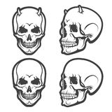 Skull vector set. Set of Skulls with  isolated on white. Vector illustration Stock Photos