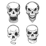 Skull vector tattoo art in sketch style. Set of terrifying skull head with jaw and smirk. May be used for skull mascot or pirate skull head , horror logo or Stock Photo