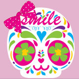 Skull. Very Cute Smile Flowers Skull Royalty Free Stock Image