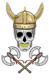 Skull Viking helmet with horns. Skull Viking helmet with horns and two crossed axes Stock Photography