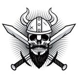 Skull of Viking Warrior with Crossed Swords Vector Stock Images