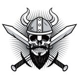 Skull of Viking Warrior with Crossed Swords Vector Illustration Stock Images