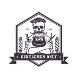 Skull  Vintage Barbershop Logo Template Vector Stock Photo