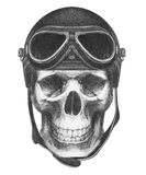 Skull with Vintage Helmet. Stock Images
