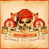 Skull on vintage motorcycle background Stock Image
