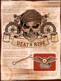 Skull on vintage motorcycle background Royalty Free Stock Image