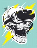 Skull in VR Glasses Pop Art. Pop art illustration of skull with virtual reality device. Open mouth experiencing emotions. Dead person in VR glasses. Conceptual Royalty Free Stock Photos