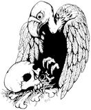 Skull Vulture. Black and white vector, vertical,  isolated Royalty Free Stock Photography