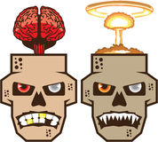 Skull w brain n nuclear blast vector. Eps file Royalty Free Stock Image