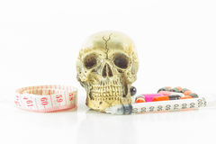 Skull waist tape measure Royalty Free Stock Image