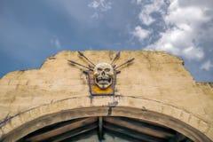 Skull on wall Royalty Free Stock Photography