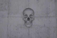 Skull on a wall of concrete. A skull on a wall of concrete symbol for doom and cataclysm Stock Image