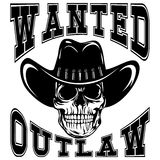 Skull wanted outlaw var 3 Stock Photo