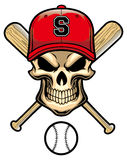 Skull wear a baseball hat Royalty Free Stock Images