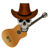 Skull wearing a cowboy hat on a background of Stock Images