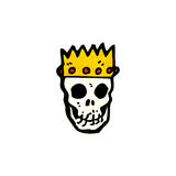 skull wearing crown cartoon Royalty Free Stock Photos
