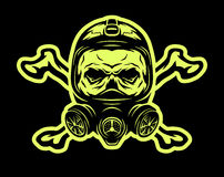 Skull wearing a gas mask and crossbones. Royalty Free Stock Images