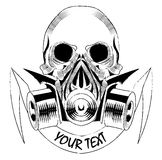 Skull wearing a gas mask. vector with signature Stock Images