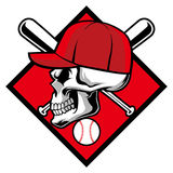 Skull wearing hat and crossed baseball bat Stock Image