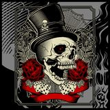 Skull wearing hat and dice rose decoration -vector vector illustration