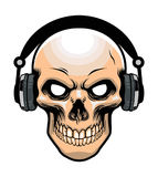 Skull wearing headphone Royalty Free Stock Image