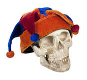 Skull Wearing Joker Cap Stock Photography