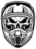Skull wearing motocross helmet Stock Photos