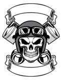 Skull wearing retro motorbike helmet. Vector of skull wearing retro motorbike helmet Royalty Free Stock Photography