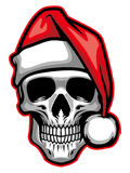 Skull wearing santa claus hat Stock Images