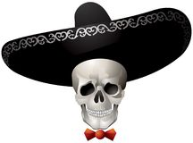 Skull wearing a sombrero, Calaca, Mexican Day of the Dead holiday character Royalty Free Stock Photography