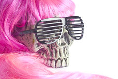 Skull Wearing Sunglasses and  Pink Hair Royalty Free Stock Photography