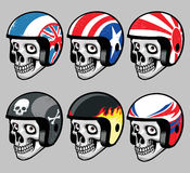 Skull wearing various  retro helmet Stock Image