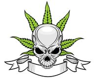 Skull and weed. Gray skull and weed with ribbon vector Royalty Free Stock Photos