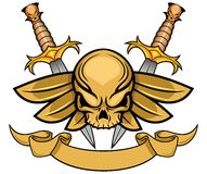 Skull with wing and dagger Stock Photos