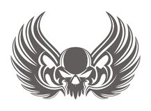 Skull wing grey. Vintage  design Stock Photography