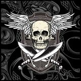 Skull wing with sword vector stock illustration