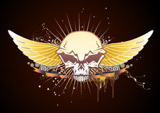 Skull winged emblem Stock Image