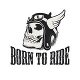 Skull in winged motorcycle helmet. Born to ride. Royalty Free Stock Image