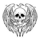 skull wings 黑色白色 免版税图库摄影