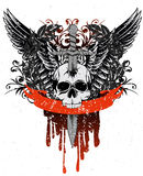 Skull with wings. Vector image skull with wings, patterns and ribbon Vector Illustration