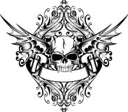 Skull with wings. Vector image skull with wings and patterns Stock Images