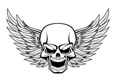 Skull with wings. Danger smiling skull with wings for tattoo design Royalty Free Stock Photos