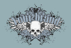 Skull and wings. Illustration of a human skull with wings and the words your brand on top Royalty Free Stock Photography