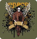 Skull and wings. T-shirt or poster design illustration with skull, swirls and wings Stock Image