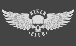 Skull with wings. Biker Club stock illustration